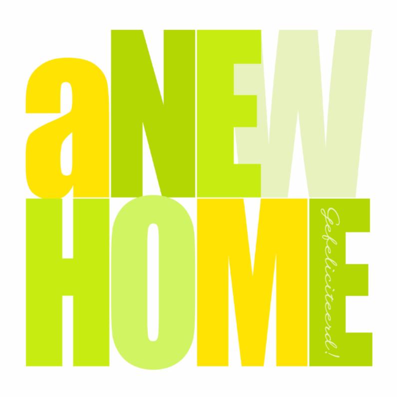 Felicitatiekaarten - Woorden A New Home Lime - BK