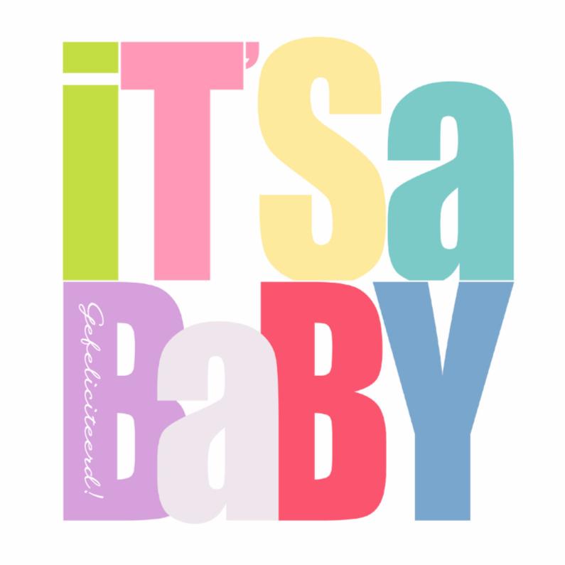 Felicitatiekaarten - Woorden It's a Baby - BK