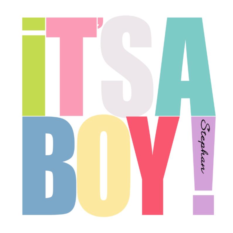 Felicitatiekaarten - Woorden It's a Boy! Kleur - BK