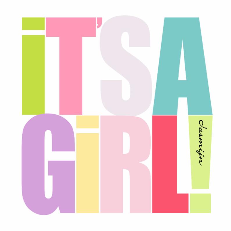 Felicitatiekaarten - Woorden It's a Girl! Kleur - BK