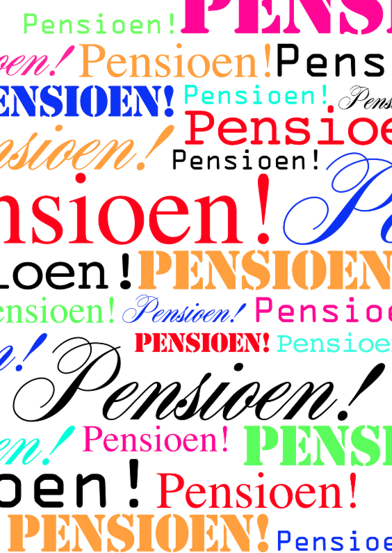 Felicitatiekaarten - Woorden Pensioen Kleur - BK