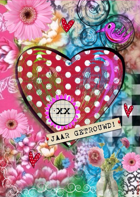 Felicitatiekaarten - XX jaar getrouwd mixed media