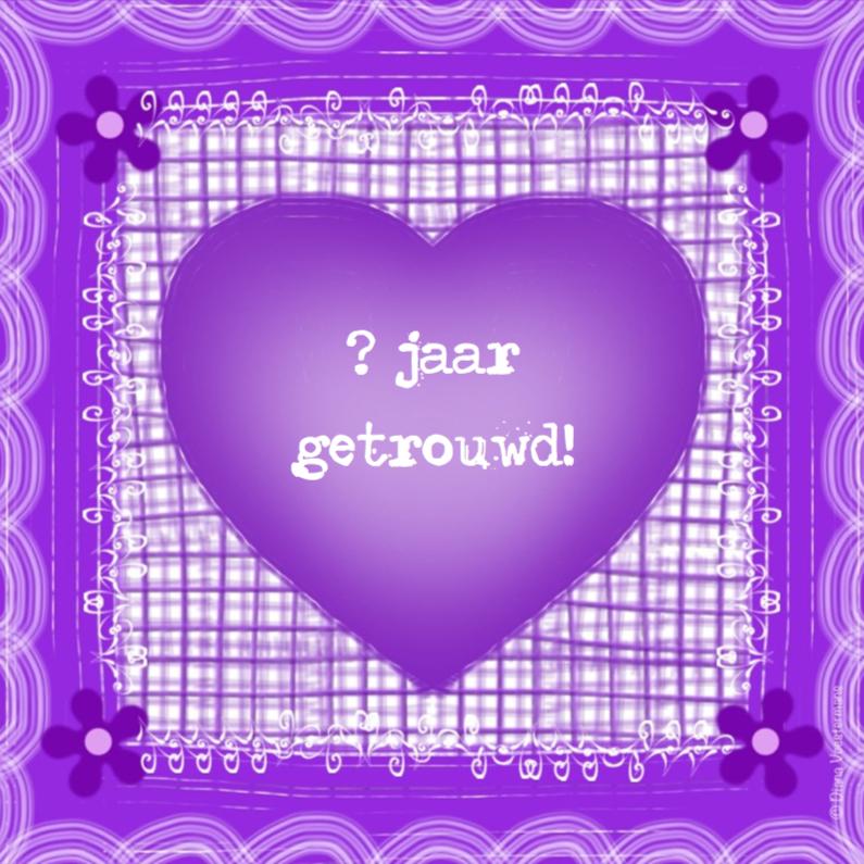 Felicitatiekaarten - xx jaar getrouwd paars hart