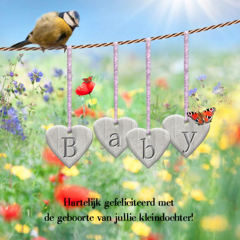 Felicitatiekaarten - Zonnige geboortefelicitatie - roze