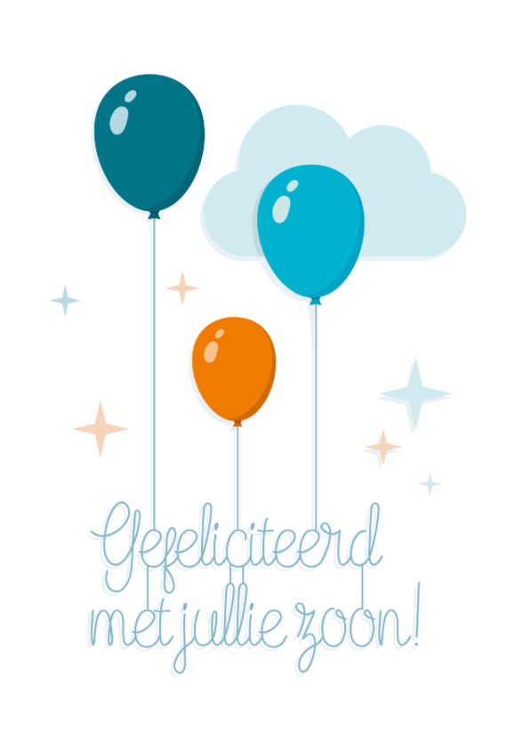 Felicitatiekaarten - Zoon geboren felicitatie Ballon