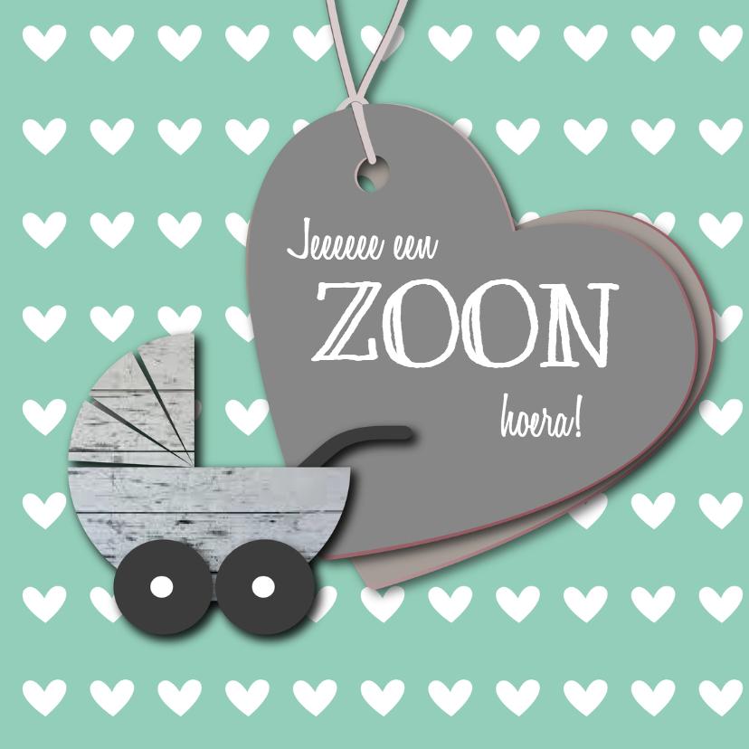 Felicitatiekaarten - Zoon of Dochter Mint Kinderwagen