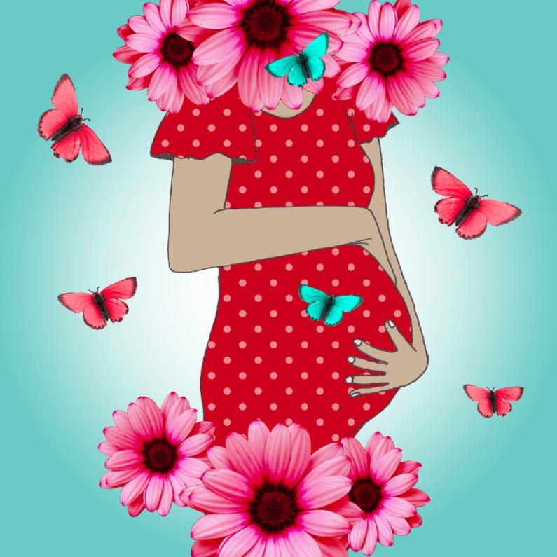 Felicitatiekaarten - Zwanger bloemen en vlinders
