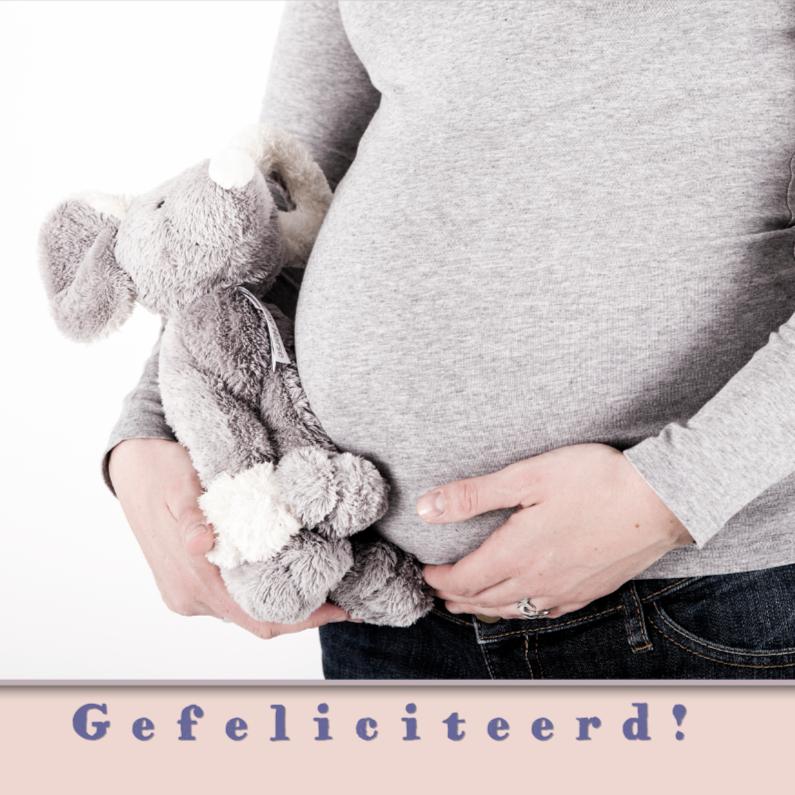Felicitatiekaarten - zwanger met knuffel