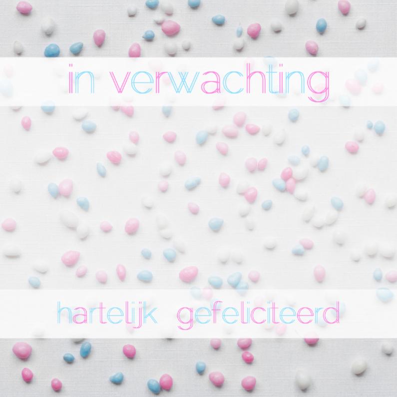 Felicitatiekaarten - Zwanger roze-blauw-wit