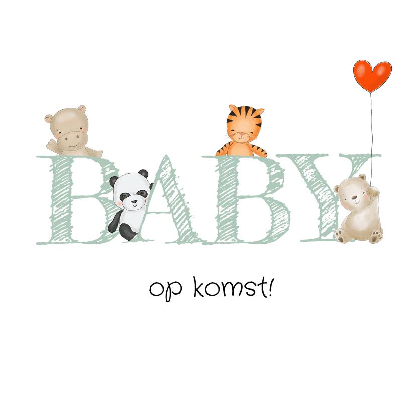 Felicitatiekaarten - Zwanger - vrolijke diertjes met ballon