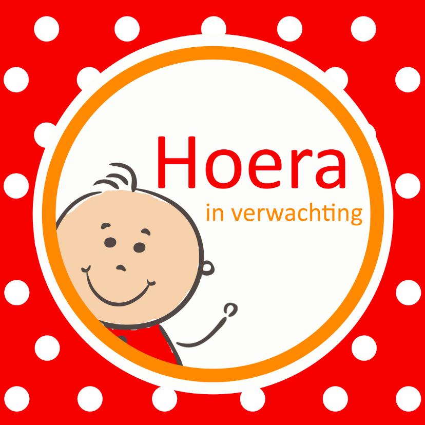 Felicitatiekaarten - Zwangerschapskaart Hoera in verwachting