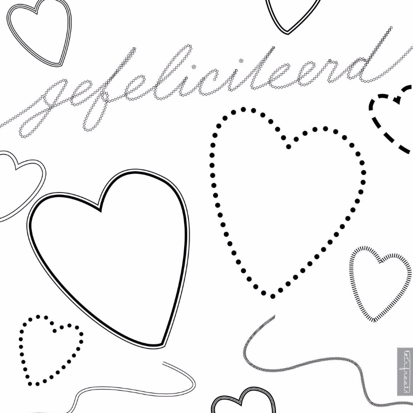 Felicitatiekaarten - Zwart wit harten met allerlei lijnen