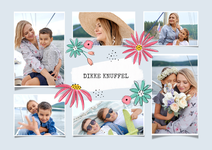 Fotokaarten - Collagekaart bloemen fotocollage fijne moederdag