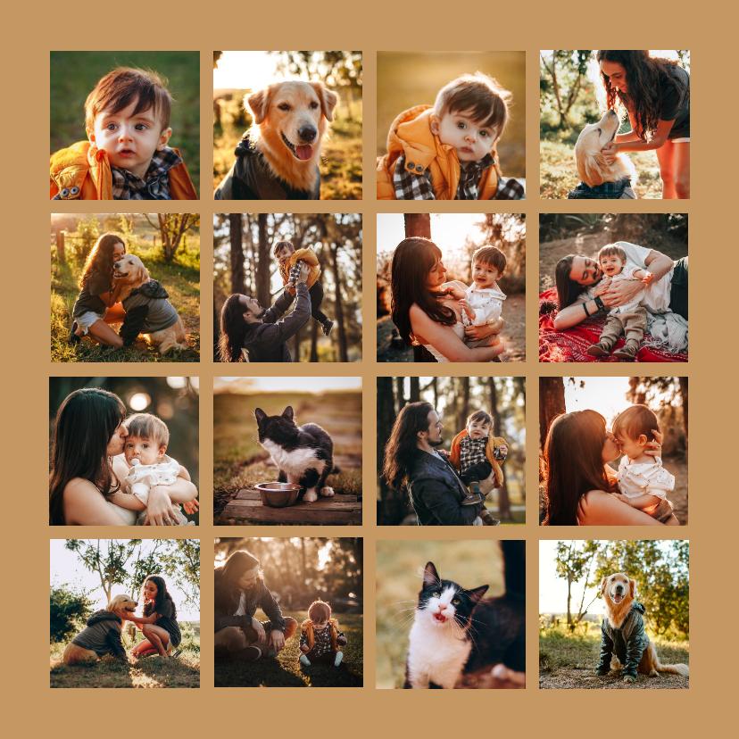Fotokaarten -  Collagekaart fotocollage vierkant met 16 foto's