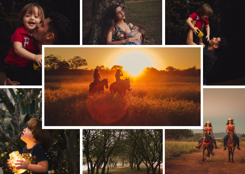 Fotokaarten - Collagekaart liggend sjabloon met 7 foto's