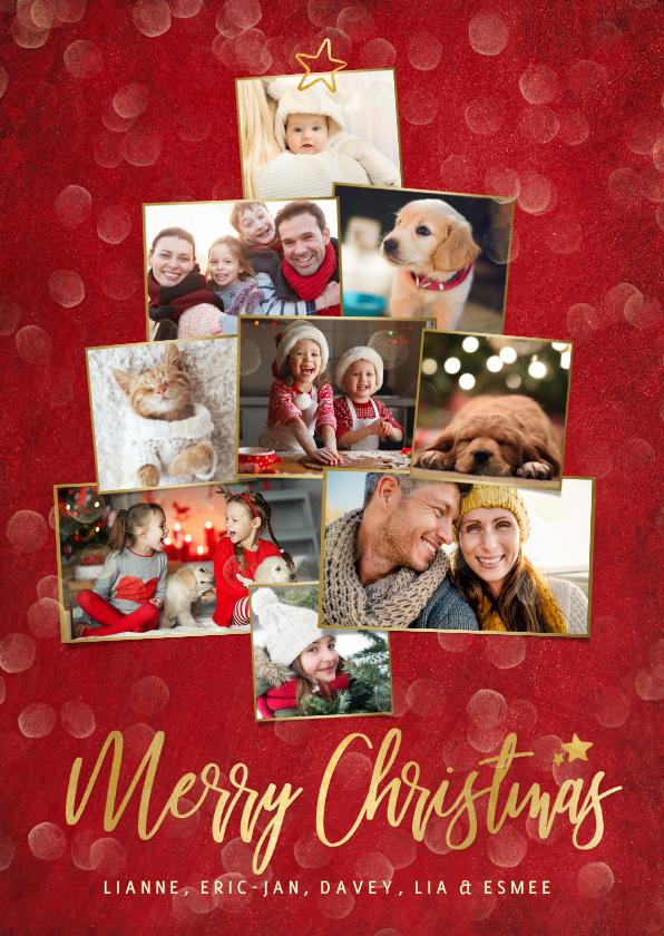 Fotokaarten - Feestelijke rode kerstkaart met fotocollage in kerstboom