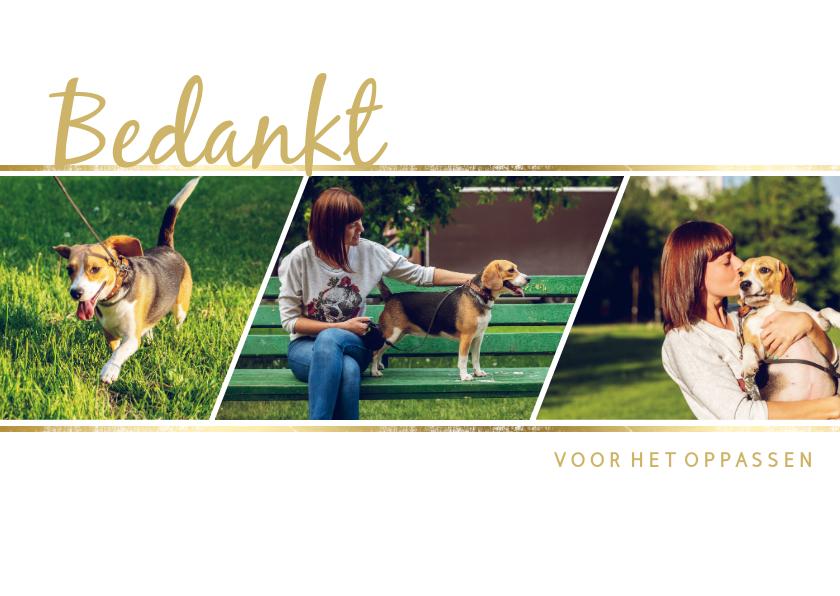 Fotokaarten - fotocollage 3 foto's met gouden accent