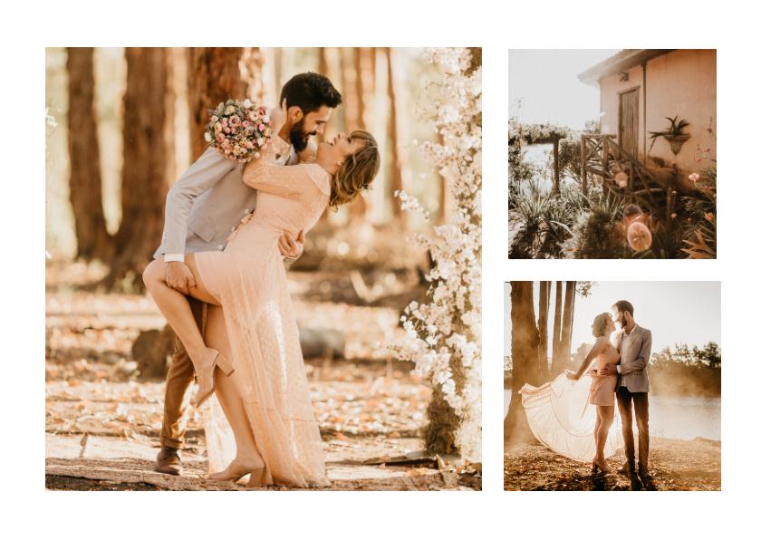 Fotokaarten - Fotocollage 3 foto's trouwdag