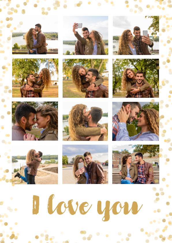 Fotokaarten - Fotocollage kaart met 12 eigen foto's en gouden confetti