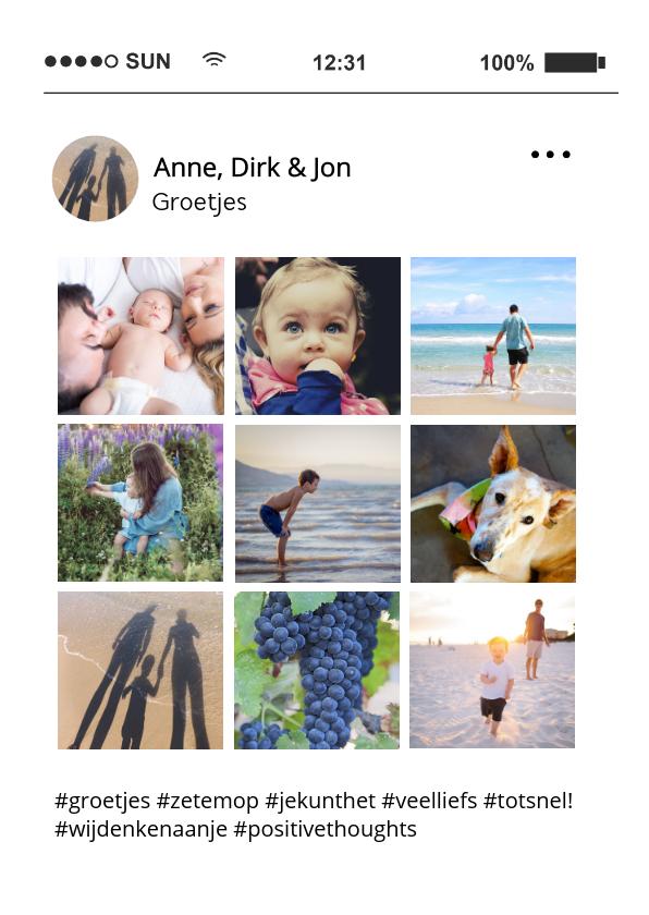 Fotokaarten - Fotocollage kaart met 9 foto's zoals social media tijdlijn