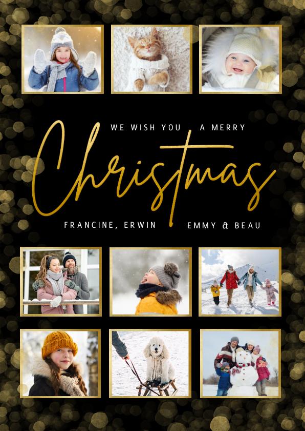 Fotokaarten - Fotocollage kerstkaart met 9 foto's en goudlook Christmas