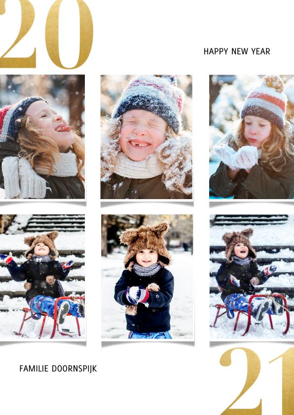 Fotokaarten - Fotocollage kerstkaart met gouden 2020