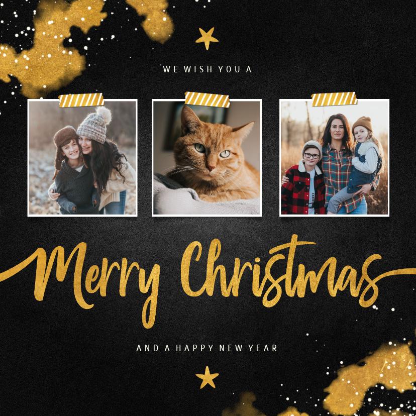 Fotokaarten - Fotocollage Merry Christmas krijtbord met goud