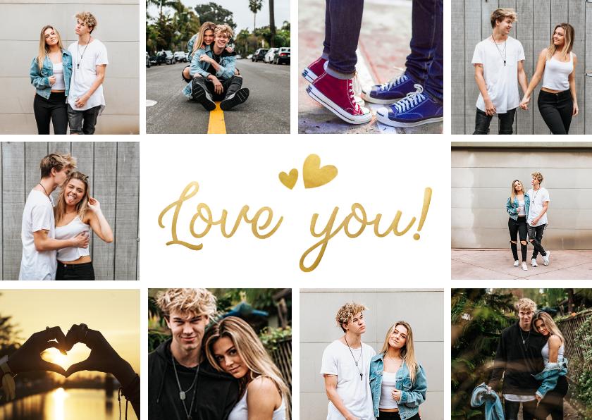 Fotokaarten - Fotocollagekaart met ruimte voor 10 eigen foto's en love you