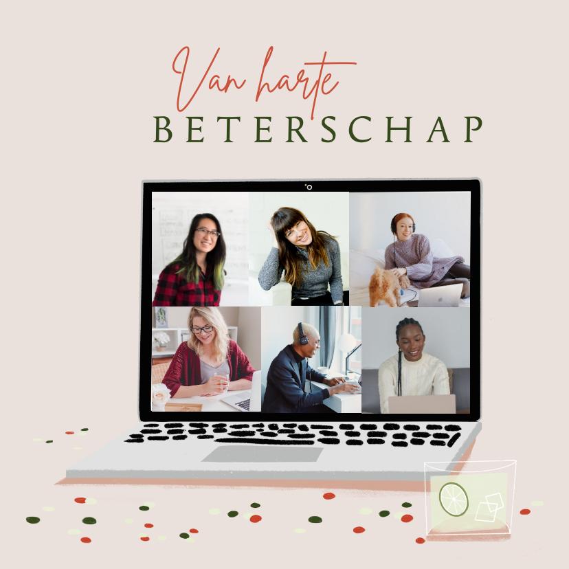 Fotokaarten - Fotokaart beterschap op afstand met laptop