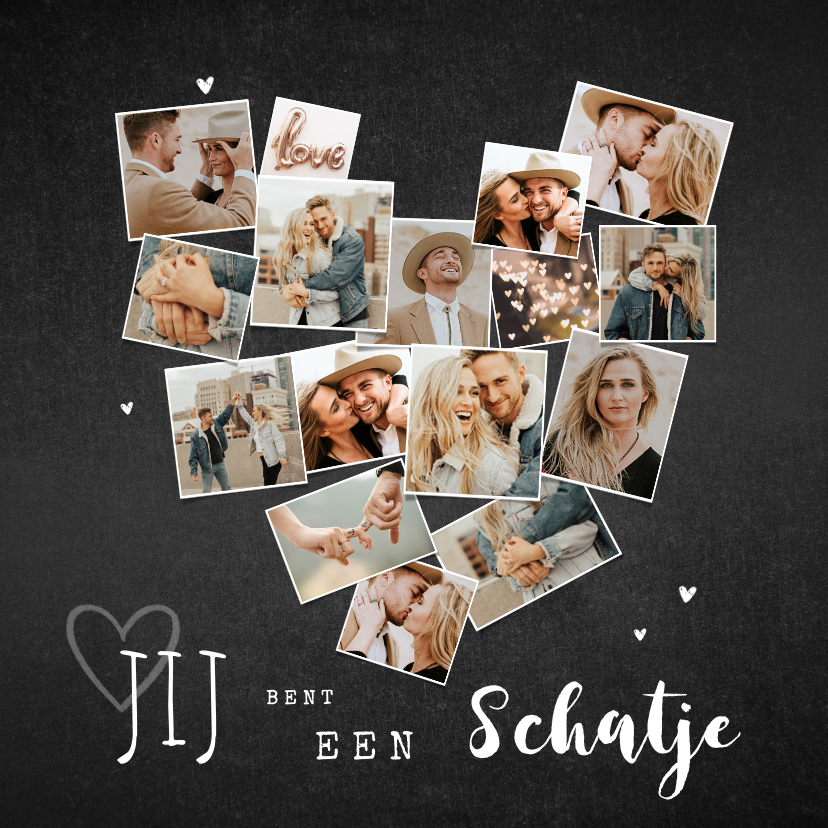 Fotokaarten - Fotokaart collage hart krijt hip met veel foto's