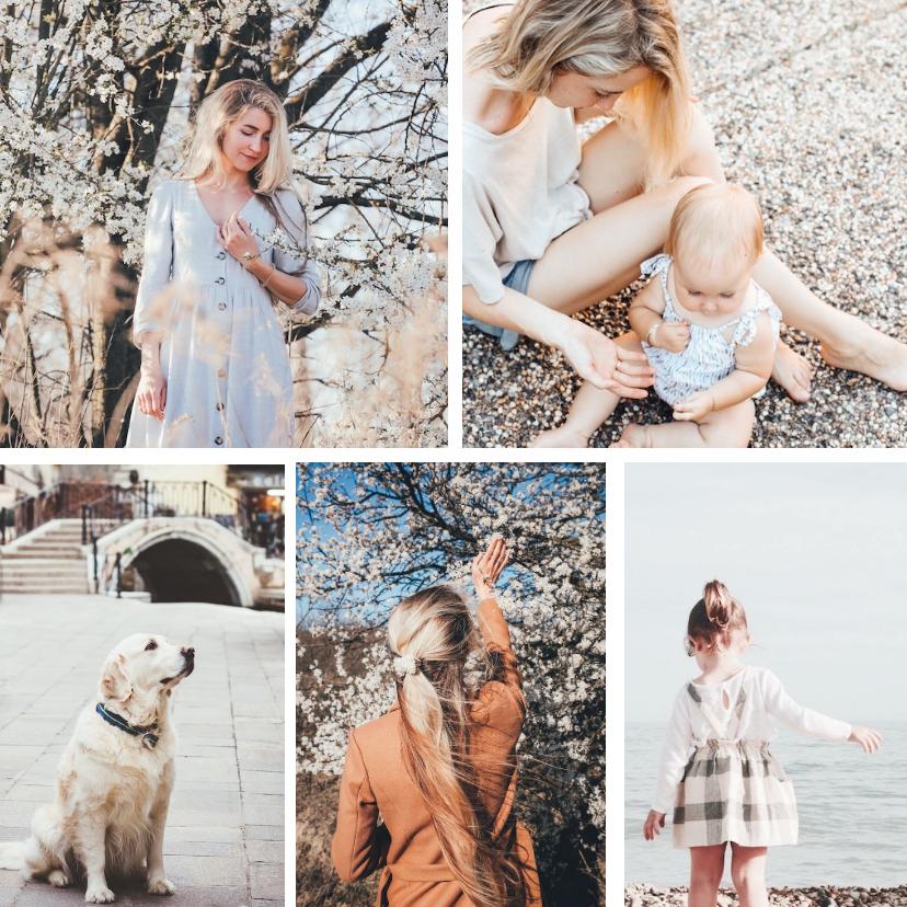 Fotokaarten - Fotokaart collage met 5 foto's vierkant