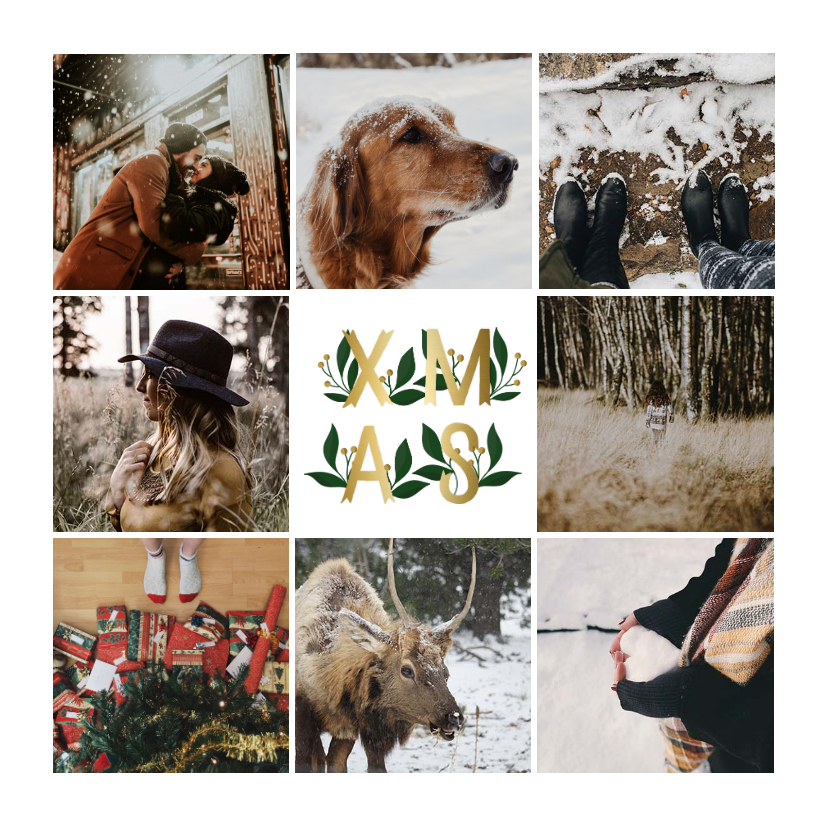 Fotokaarten - Fotokaart collage XMAS goud met bladeren