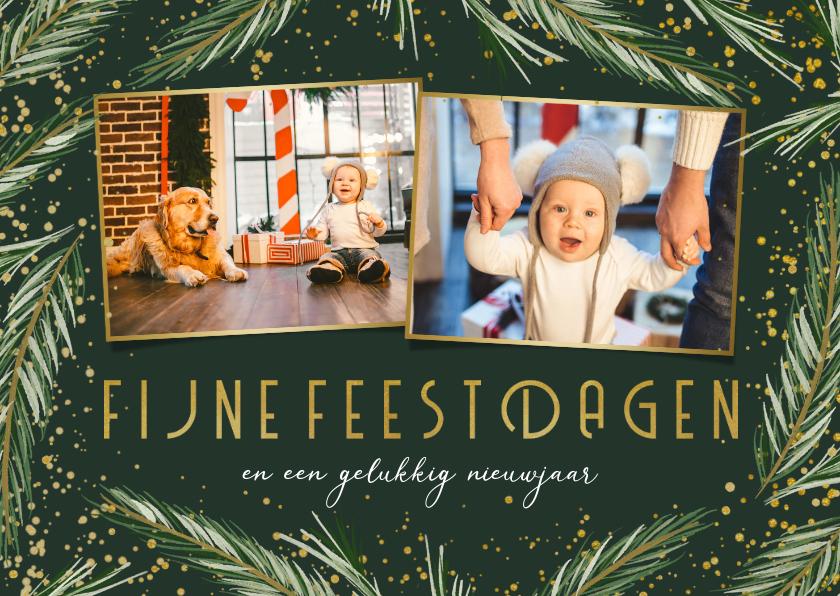 Fotokaarten - Fotokaart dennenkader 2 foto's fijne feestdagen