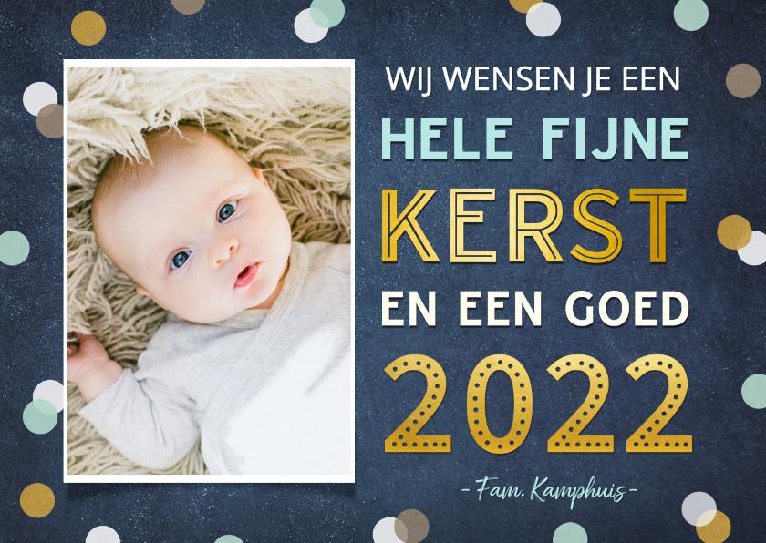 Fotokaarten - Fotokaart fijne kerst en een goed 2022 - confetti