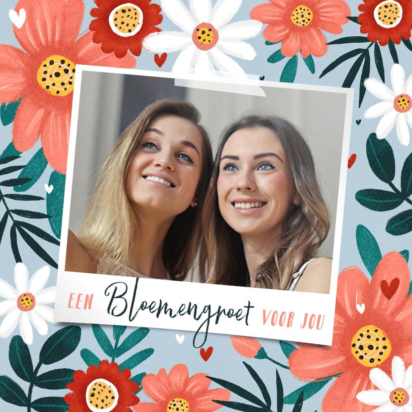 Fotokaarten - Fotokaart fleurig met bloemen hartjes en eigen foto
