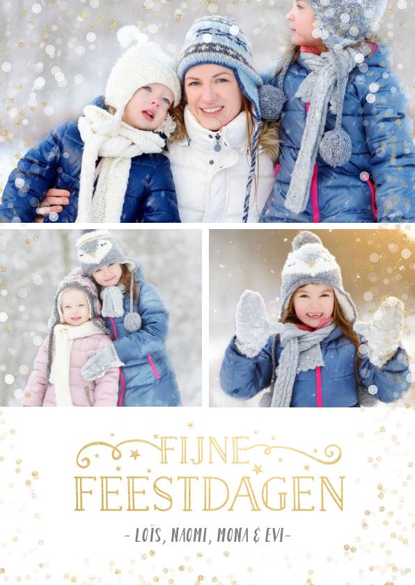 Fotokaarten - fotokaart fotocollage kerst met 3 foto's en confetti