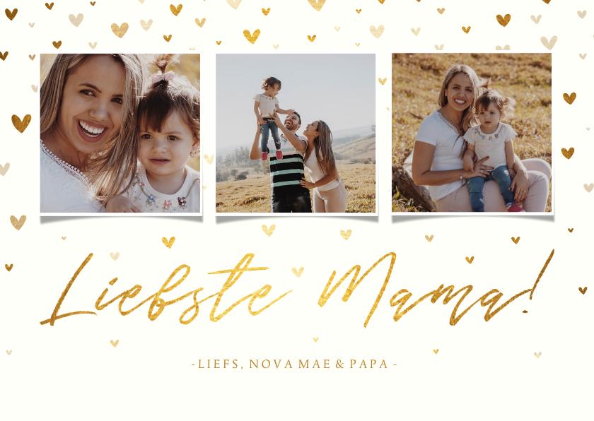 Fotokaarten - Fotokaart fotocollage 'liefste mama!' met hartjes