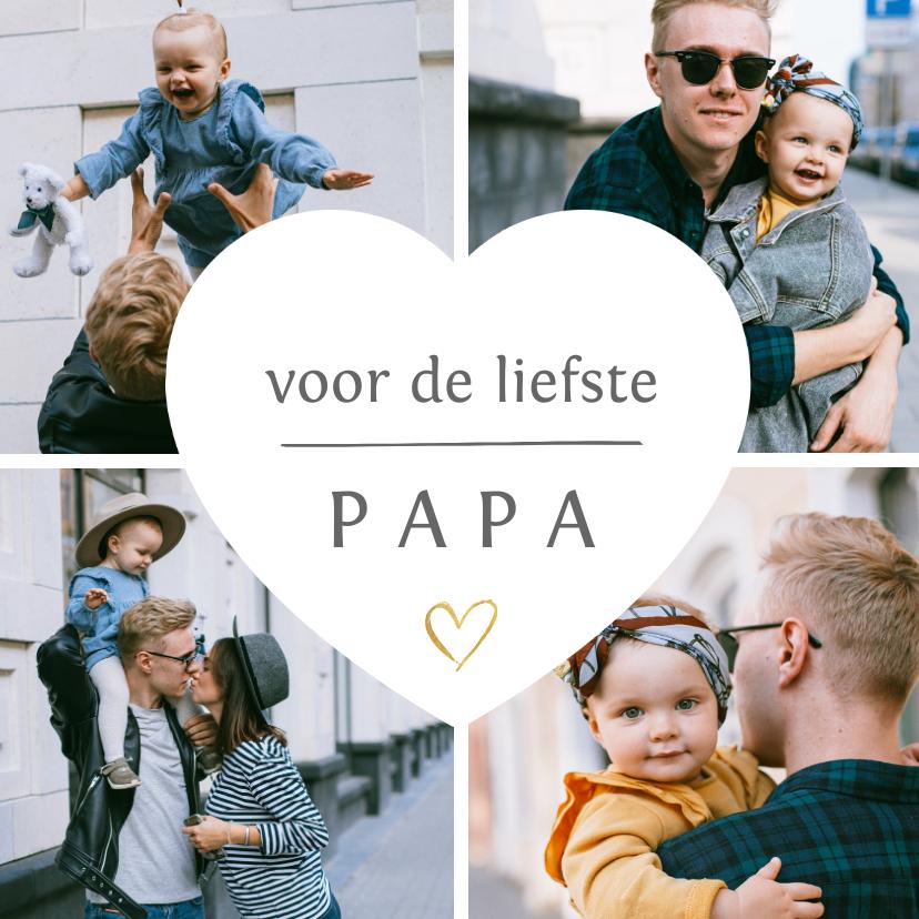 Fotokaarten - Fotokaart fotocollage met 4 eigen foto's en hartje voor papa