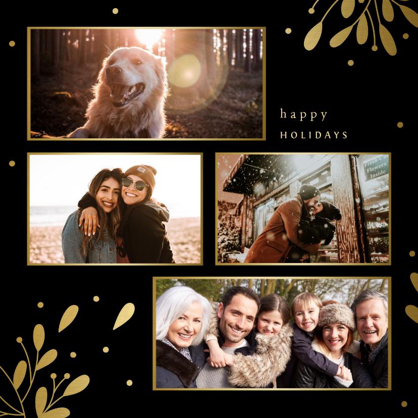 Fotokaarten - Fotokaart fotocollage met besjes en takjes goud