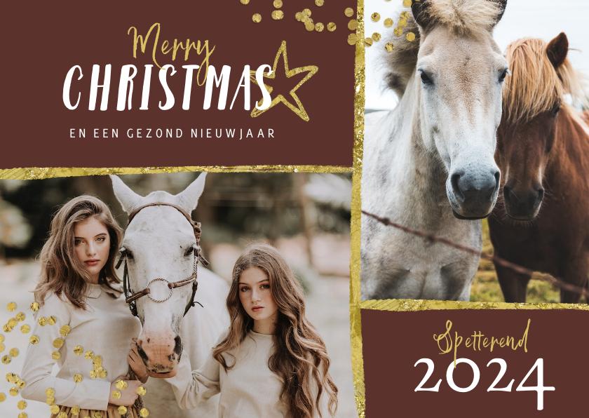 Fotokaarten - Fotokaart goud stijlvol met paarden en sterren