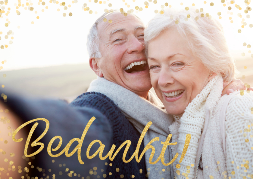 Fotokaarten - Fotokaart gouden bedankt confettI