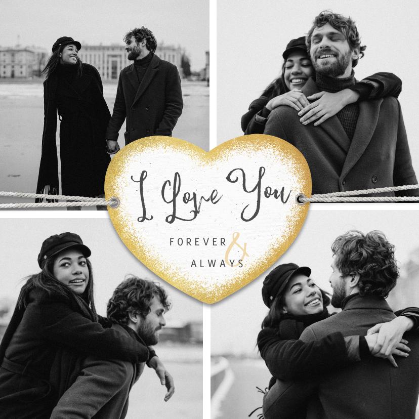 Fotokaarten - Fotokaart I love you met collage van 4 foto's en hart