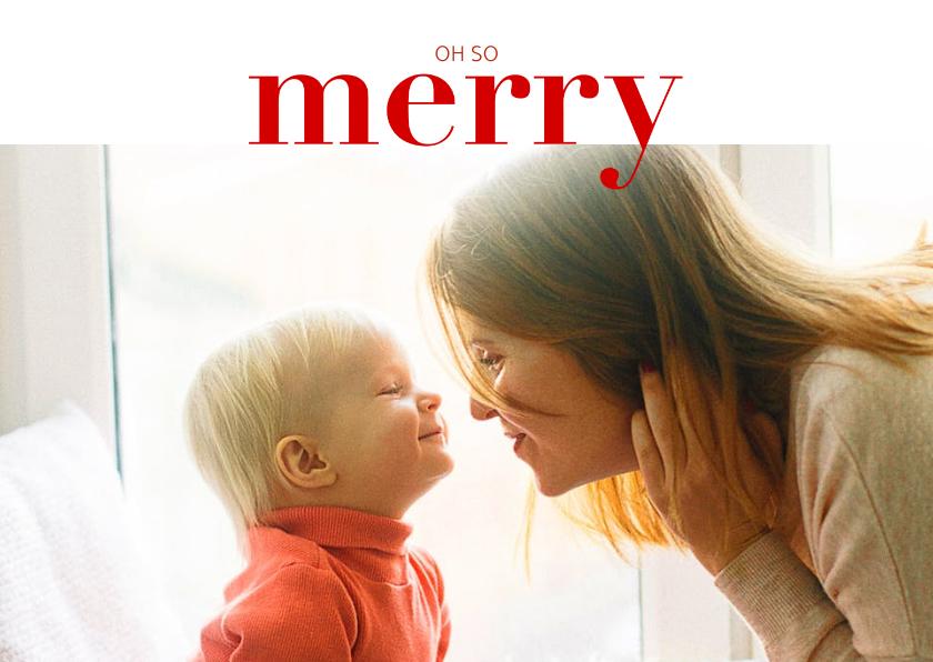 Fotokaarten - Fotokaart in kerstlook en 'merry' in rode letters