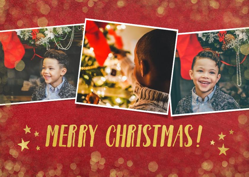 Fotokaarten - fotokaart kerst collage met goud en 3 eigen foto's