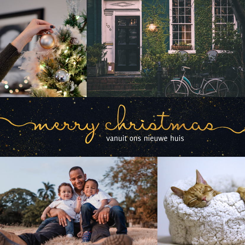 Fotokaarten - fotokaart kerst donkere achtergrond met sierlijke letters