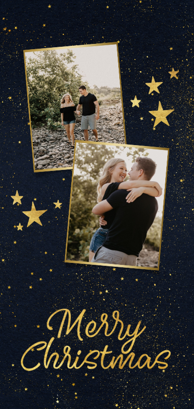 Fotokaarten - Fotokaart kerst langwerpig 2 foto's sterren gouden figuren