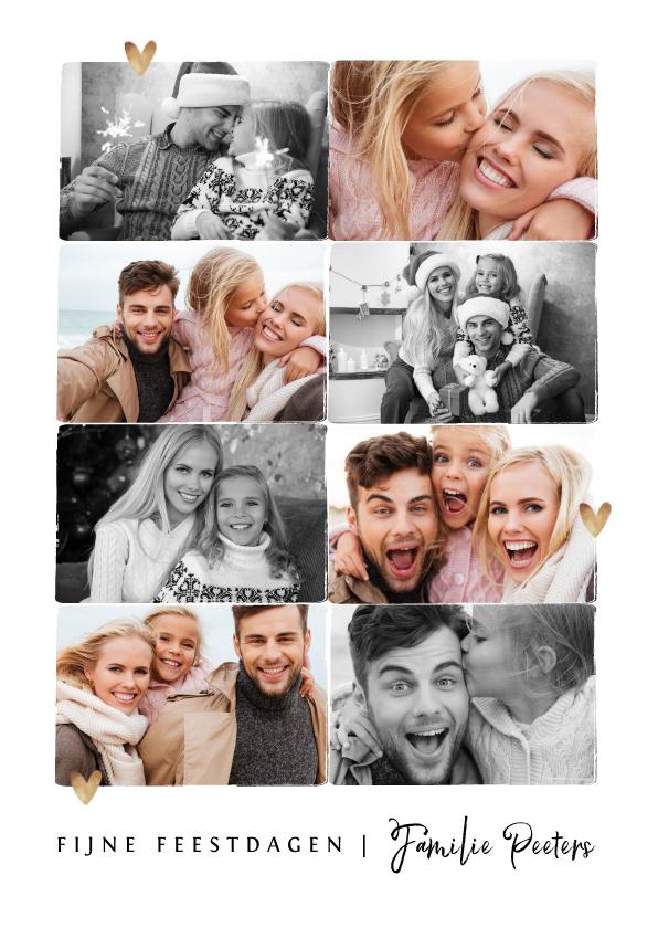 Fotokaarten - Fotokaart kerst X-mas fotocollage zwart wit