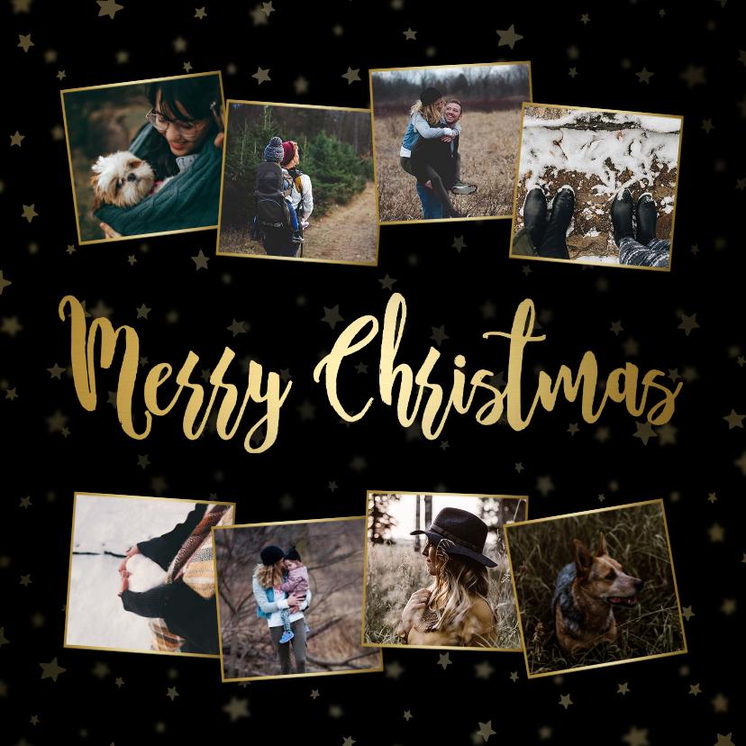 Fotokaarten - Fotokaart kerstcollage sterren goudaccent