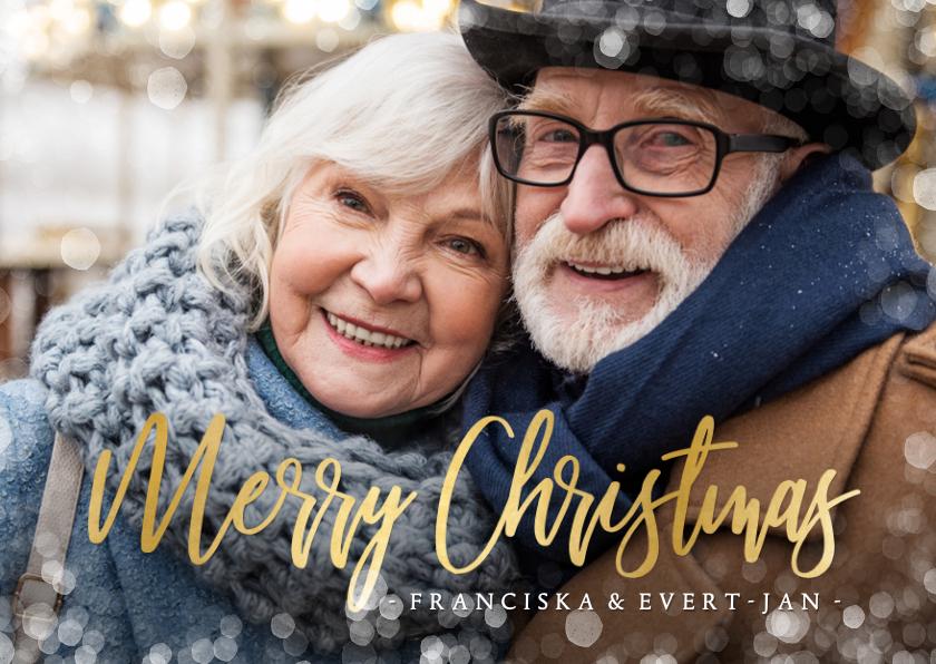 Fotokaarten - Fotokaart kerstmis grote foto en sneeuwkader