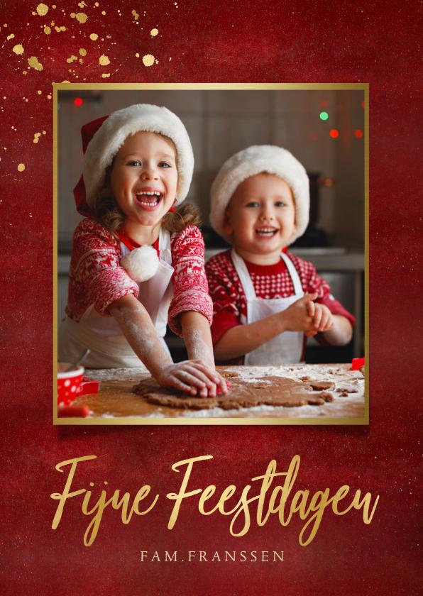 Fotokaarten - Fotokaart kerstmis stijlvolle rode kaart met eigen foto